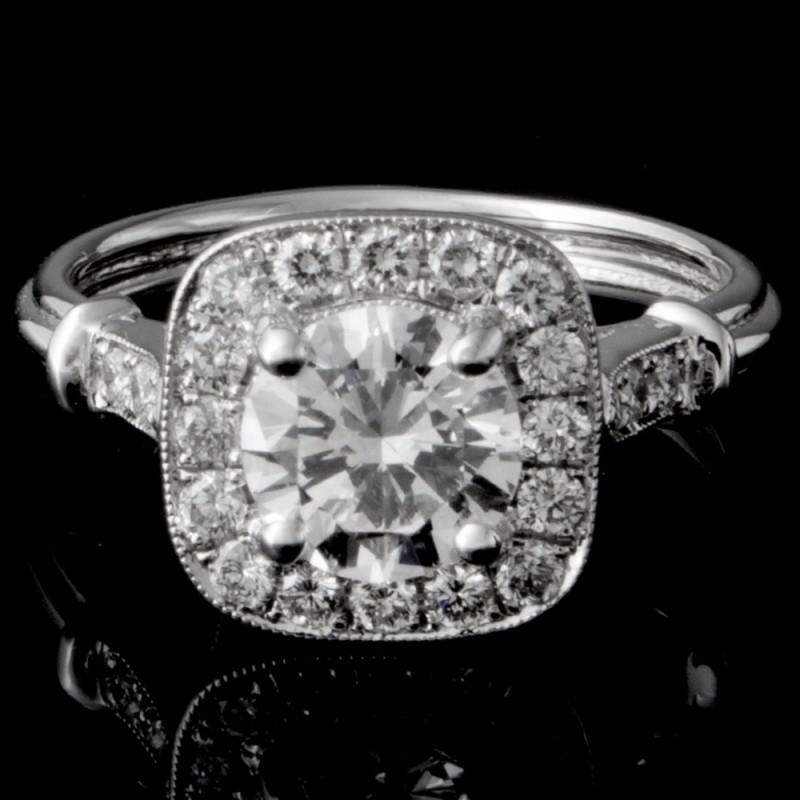 Custom Cushion Halo Engagement Ring