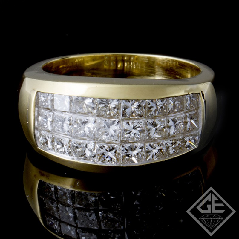 2.11 carat Princess Cut Diamond Wedding Band in 18k Yellow Gold