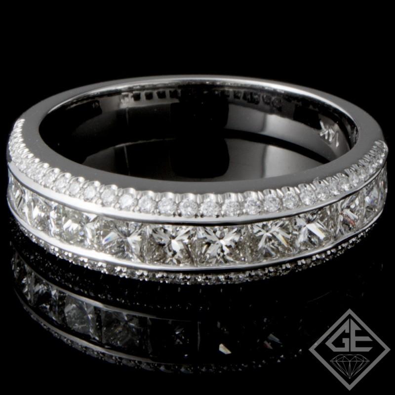 1.55 carat Round & Princess Cut Diamond Wedding Band in 14k White Gold
