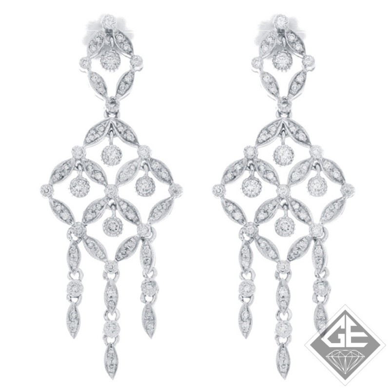 14k White Gold Antique Style Ladies Diamond Chandelier Earrings