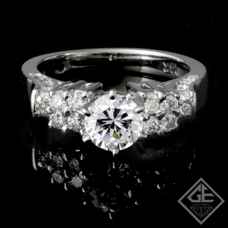 Round Brilliant Cut Diamond Engagement Prong Set Ring in 14k Gold