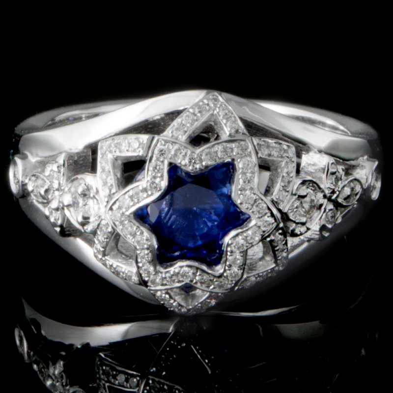 1.44ct Custom Sapphire and Diamond Ring