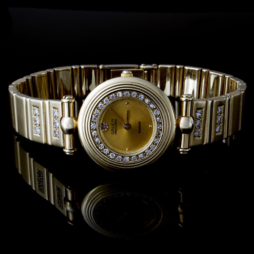 Ladies Gruen Watch with 0.60 ct Round Diamonds 14k Yellow Gold