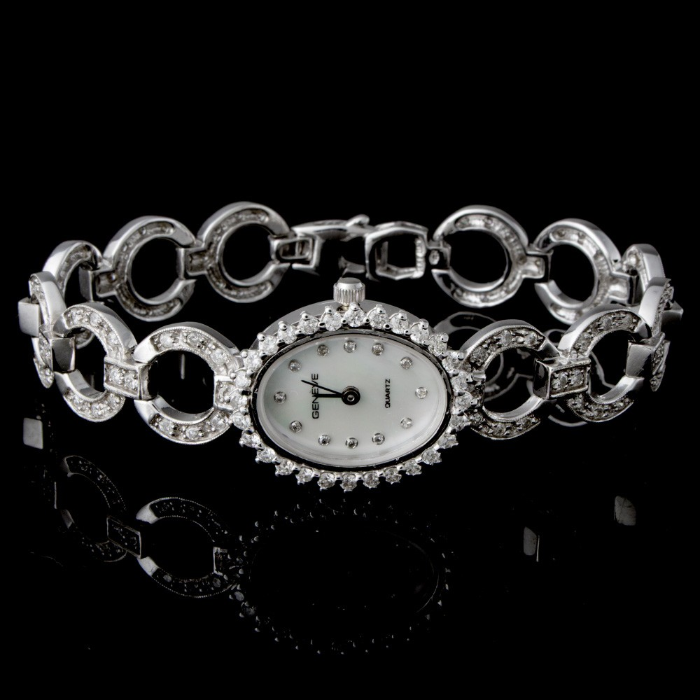 Ladies Geneve Diamond Watch 14k White Gold