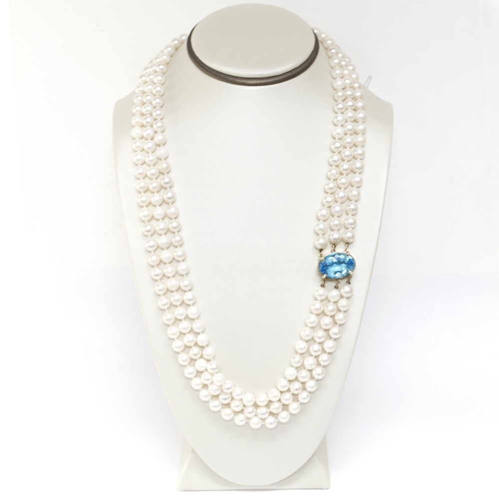 Ladies 3-Strand Pearl and Blue Topaz Necklace with 14k Yellow Gold Lock