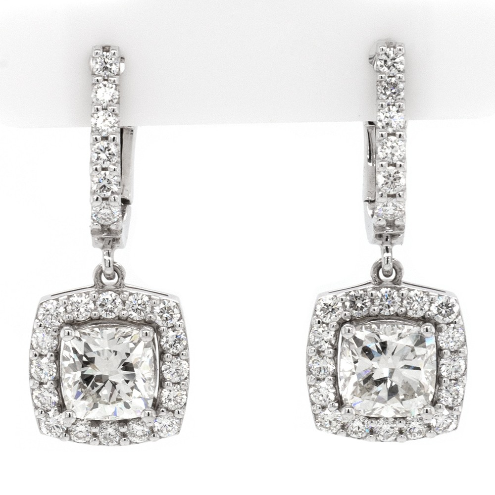 Ladies 2.91 CTWT Cushion and Round Cut Halo Diamond Dangling Earrings in 14k WG