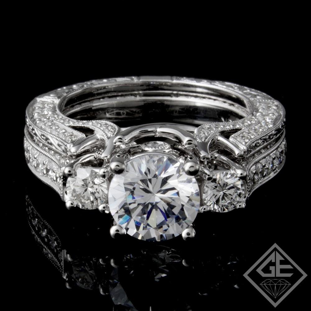 Ladies Diamond Bridal set Ring with 1.53 carat Round brilliant cut side diamonds.