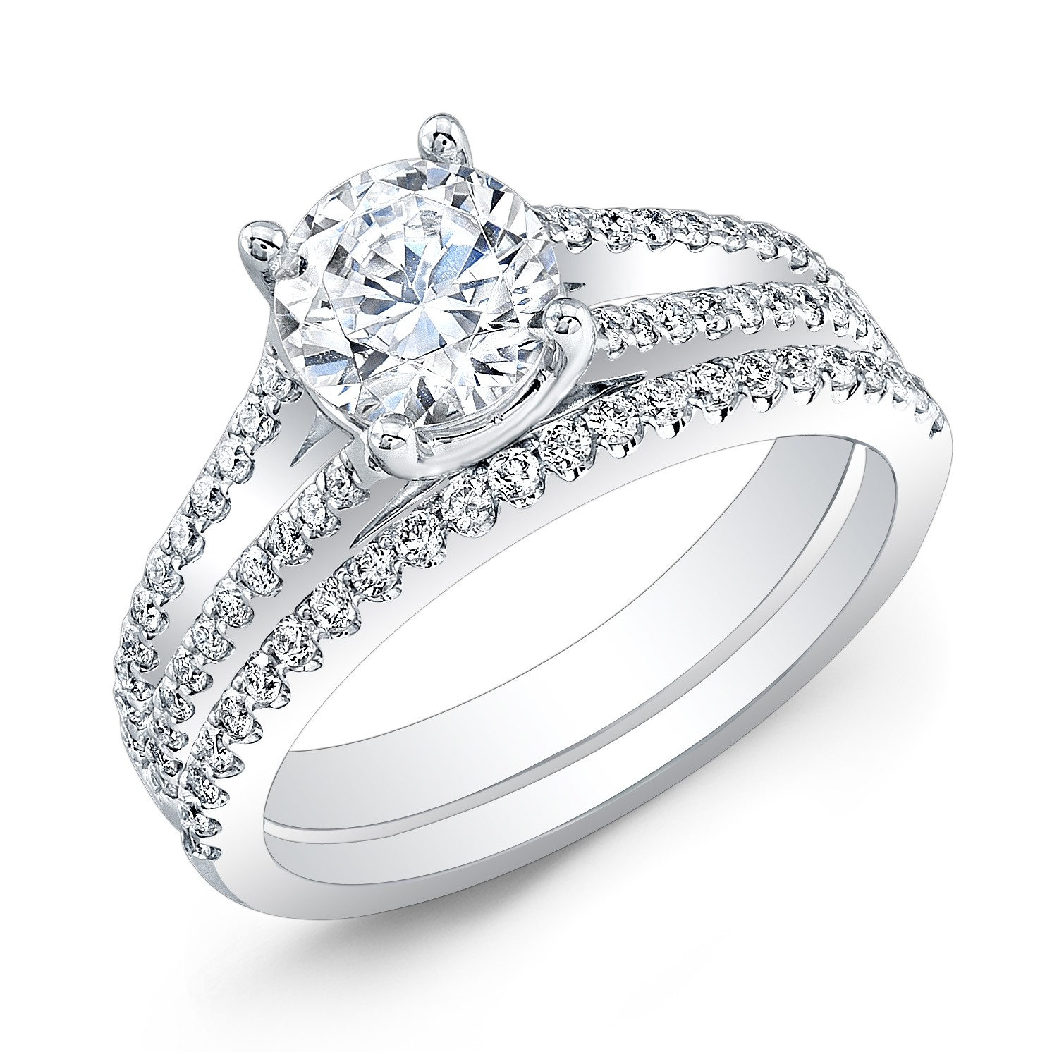 La s Diamond Bridal set Ring with 0 35 carat Round brilliant cut