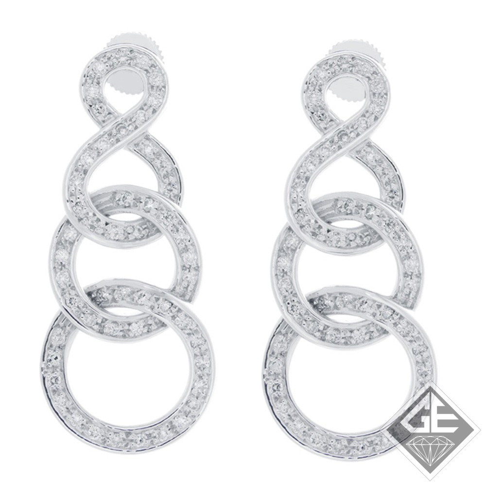 14k White Gold Dangling Earrings with Round Brilliant Cut Diamonds