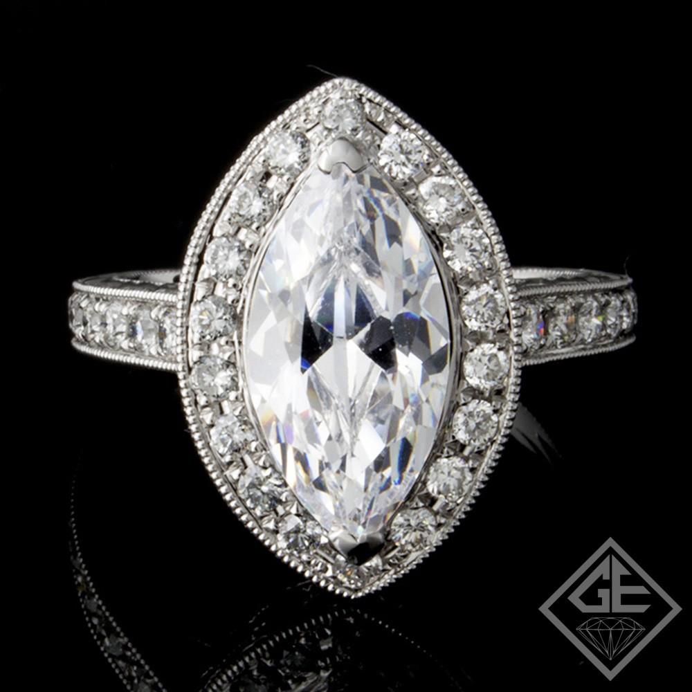 Halo Style Marquise & Round Cut Diamond Engagement Ring 18k Gold