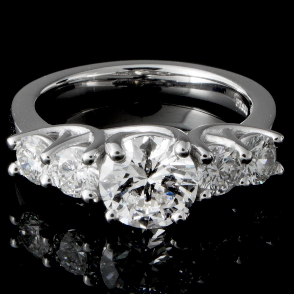 Custom PT950 Diamond Engagement Ring