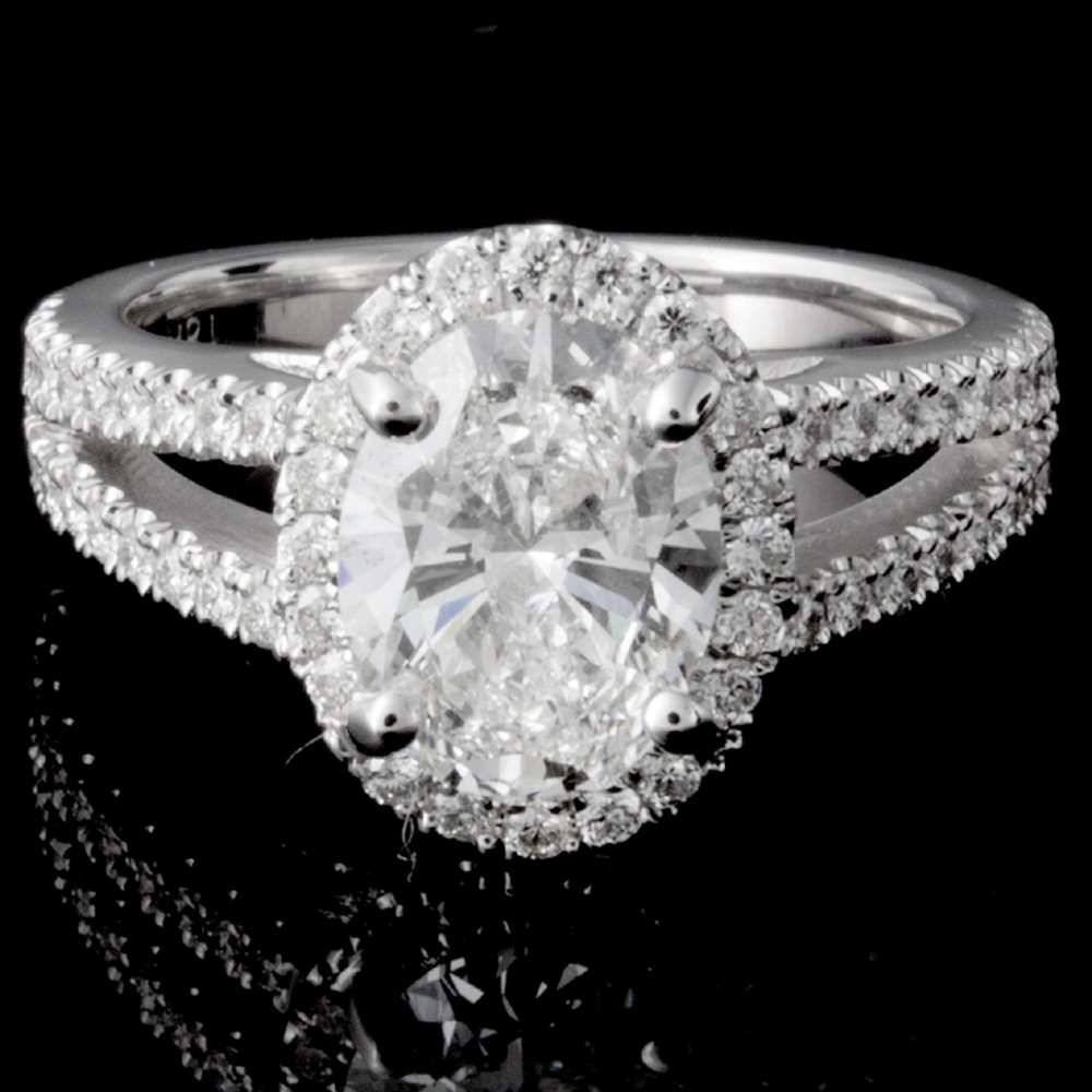 Custom Oval Diamond Halo Engagement Ring