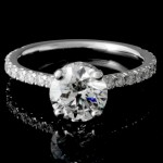 1.74 CTWT Round Cut Custom Design Pave Engagement Ring