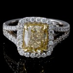 2.02 ct Fancy Yellow Cushion Diamond Engagement Ring