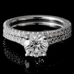Ladies Custom 14k White Gold U-Shape Pave Wedding Set