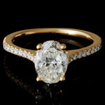 Ladies Custom Halo Pave Oval Diamond Engagement Ring