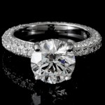 Ladies Custom 3-sided Pave Engagement Ring