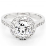 Ladies 0.50 CTWT Round Brilliant Cut Diamond Halo Pave Engagement Ring in 14k White Gold