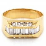 Men's 1.79 CTWT Baguette an Round Cut Diamond Wedding Ring