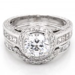 Ladies 2.66 CTWT Round and Princess Cut Diamond Bridal Set Rings in 18k White Gold