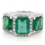 Ladies 3.23 CTWT Emerald and 0.66 CTWT Round Cut Diamonds Halo Pave Engagement Ring in 18k White Gold