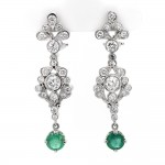 Ladies 3.79 CTWT Round Cut Diamond and Emerald Gemstone Dangling Earrings in 14k White Gold
