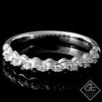 0.09 carat Round Brilliant Cut Diamond Wedding Band in 14k White Gold