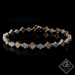 1.65 Ct total Round Brilliant Cut Ladies Diamond Bracelet in 14k White and Rose Gold