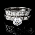 Ladies Diamond Bridal set Ring with 0.60 carat Round Brilliant cut side diamonds