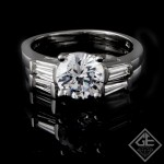 Ladies Diamond Bridal set Ring with 0.58 carat Baguette cut side diamonds.