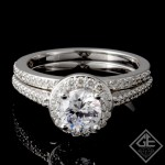 Ladies Diamond Bridal set Ring with 0.50 carat Round brilliant cut side diamonds.
