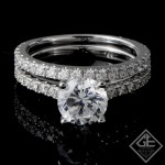 Ladies Diamond Bridal set Ring with 0.76 carat Round  brilliant cut side diamonds.