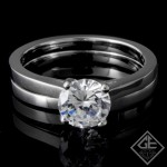 Ladies Solitaire Bridal Set in 14k White Gold