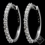14k White Gold Shared Prong Round Shape Diamond Hoop Earrings 0.62 Ct tw.