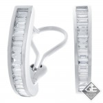 14k White Gold Baguette Cut Diamond Hoop Earrings 1.28 Ct. tw.