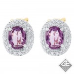 14k 2 tone Gold Oval Pink Sapphire Halo Stud Earrings with Round Brilliant Cut Diamonds