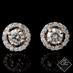 14k Rose Gold Halo Stud Earrings With Round Brilliant Cut Diamonds