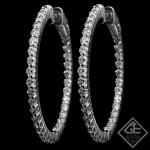 2.07 CTWT ROund Cut Diamond Inside-Outside Hoop Earrings in 14k White Gold