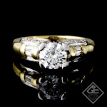 Round & Baguette Cut Diamond Engagement Ring in 18k Gold