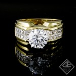 Princess & Baguette Cut Diamond Engagement Ring in 18k Gold