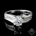 Pave Style Round Cut Diamond Engagement Ring 14k Gold