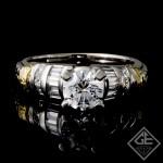 Round Brilliant Cut and Baguette Diamond Engagement Ring in Platinum