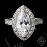 Halo Style Marquise & Round Cut Diamond Engagement Ring 18k Gold