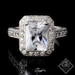 Halo Style Radiant Cut Diamond Halo Engagement Ring 18k Gold
