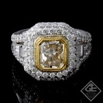 EGL Certified Radiant Cut Halo Diamond Engagement Ring 18k Gold