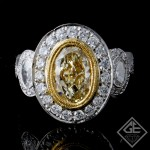 EGL Certified Oval Shape Halo Style Ladies Diamond Engagement Ring 18k Gold