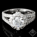 Split Shank Halo Design Ladies Diamond Engagement Ring 14k Gold