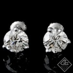 3.06 ct. tw Round Brilliant Cut Diamond Stud Earrings in 14k Gold