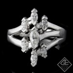 18k White Gold Ladies Fashion Ring with 0.74 carat Marquise Cut Diamonds