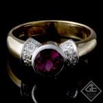 1.36 carat Round Pink Tourmaline Fashion Ring in 14k 2 Tone Gold